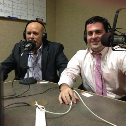 Martin hitting the radio for a segment of legal advice.