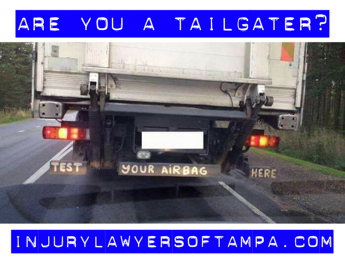 Tailgate accidents in Tampa, Florida. Photo of a car tailgating a truck.