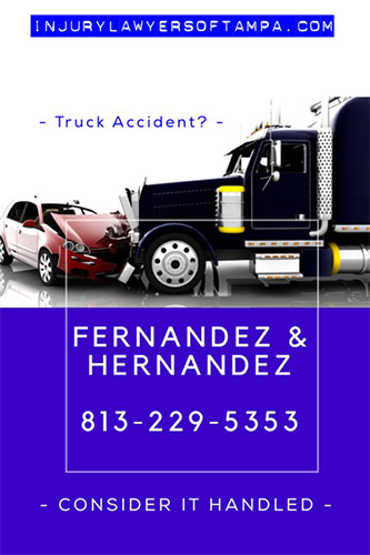 Truck accident lawyer tampa - photo of a truck hitting a car. call fernandez and hernandez