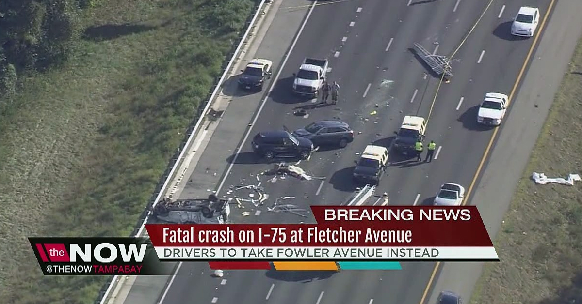 Screenshot of a News story about a fatal car crash at Fletcher Avenue in Tampa