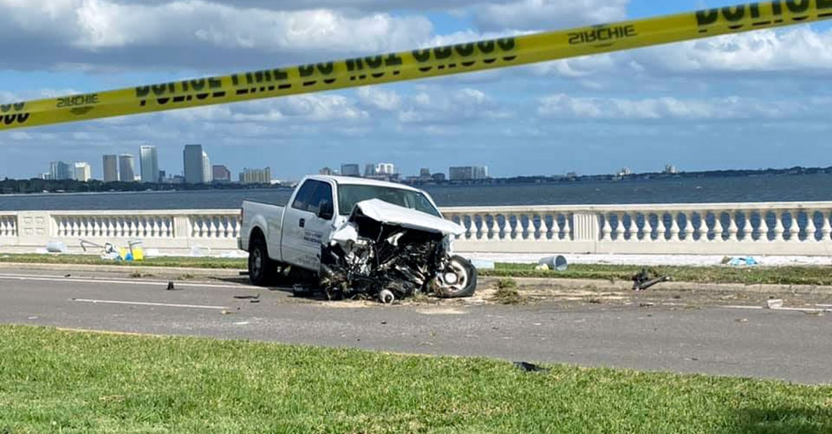 Police line in front of a totaled truck on Bayyshore Boulevard