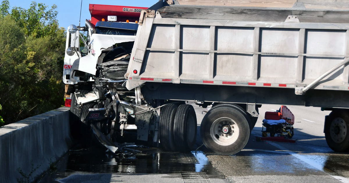 Dump truck tractor-trailer accident