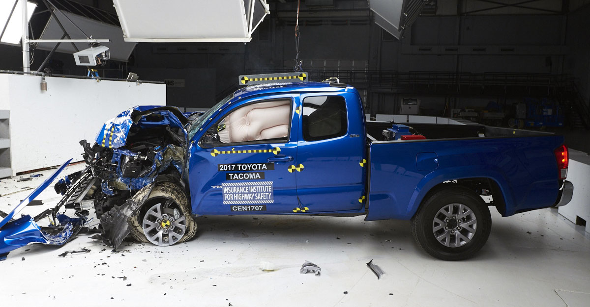 A pickup truck in a safety crash inspection accident lab