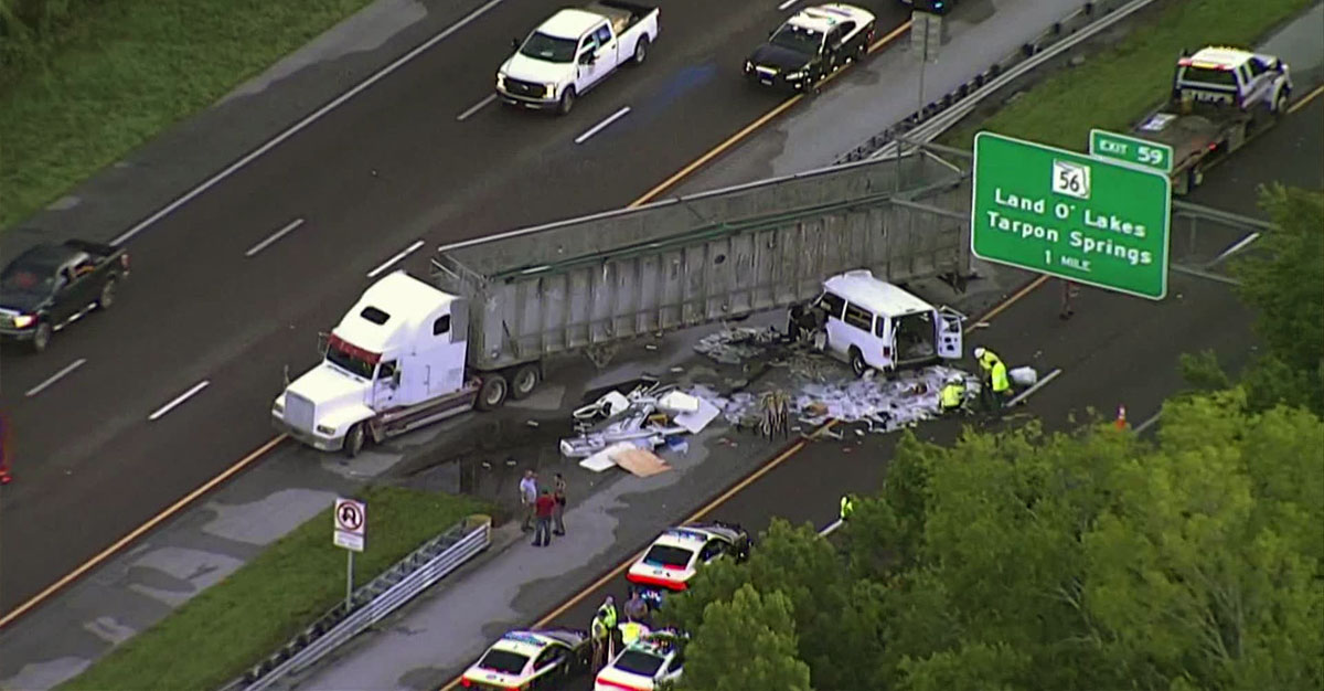18-wheeler accident on I-75 in Tampa